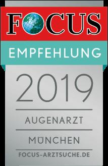 Dr. Parasta wird von der Focus-Arztsuche 2019 als Augenarzt in München empfohlen.